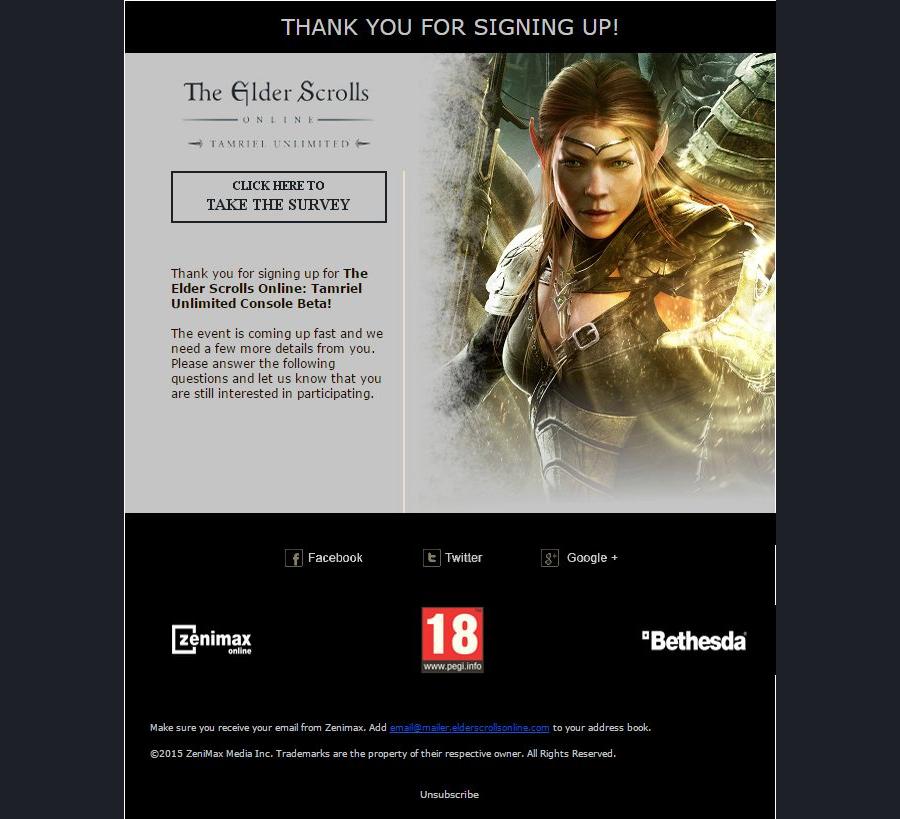 Скриншот письма о бета-тесте The Elder Scrolls Online для консолей